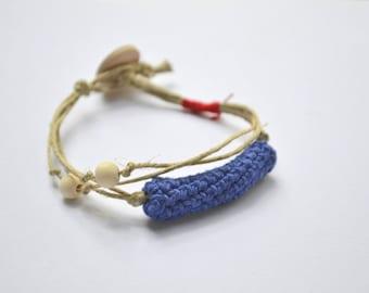 Natural linen bracelet, summer bracelet, organic jewelry, bohemian bracelet, beach jewelry, easter gift in blue and red, friendship bracelet
