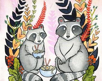 Raccoons eating Ramen Noodles - Ramen art - Raccoon Art - Raccoon  Watercolor - 8x10
