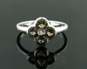 Smoky Quarts and White Topaz, Sterling Silver Ring, Size 7
