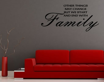 Wall Decal Other Things May Change But We Start And End With Family Inspirational Quotes Wall Decals Wall Sticker (JR345)