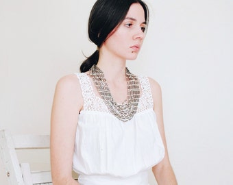 Vintage Multi Strand Tribal Necklace || Southwest Native American Inspired || Silver Tone Bib Necklace || Statement Necklace || Collar