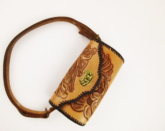 Lovely Buff Tan, Hand-tooled Leather Purse - Rolled Oval Purse - Adjustable Strap - Brass Clasp - Two Pockets - Like New From a Collector