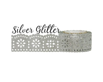 Lace Washi Tape - Silver Glitter Washi Tape - Silver Washi Tape - Scrapbooking - Gift Wrapping - Planner Washi Tape - Little B - 291675
