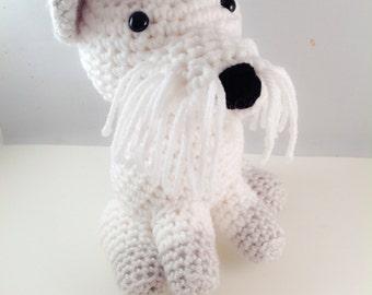 Crochet Amigurumi Schnauzer Puppy Handmade Stuffed Animal Plush Toy