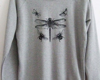 Womens  organic  sweatshirt dragonfly print light grey sweatshirt