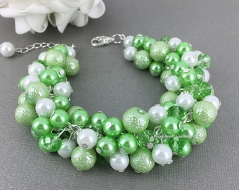 Lime Green and White Bracelet, Lime Green Bracelet, Pearl Jewelry, Wedding Jewelry, Bridesmaid Bracelet, Green Wedding