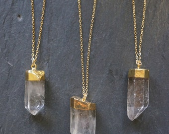 Quartz Necklace // Gold dipped Quartz  // Quartz Necklace // Gold Quartz // Raw Quartz  // Crystal Necklace