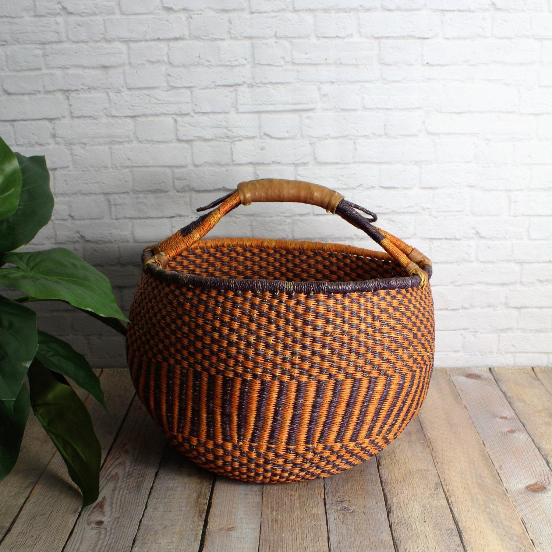African Woven Baskets: Vintage Basket Woven Basket West African Basket Market