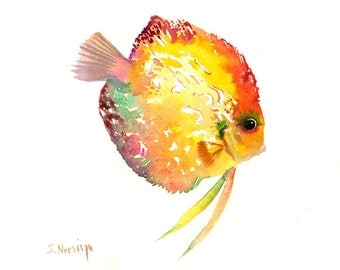 Discus Fish Painting, Colorful fish art, children art, kids wall art, Yellow orange rainbow colors, Bright wall art 10 x 8 in