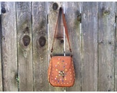 70's Tooled Leather Painted Flowers Hippie Boho Brown Vintage Purse Bag 60's