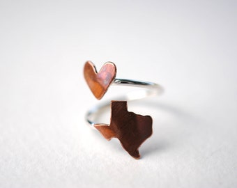 Texas Love Heart Twist State Ring (Sterling Silver & Copper Ring)