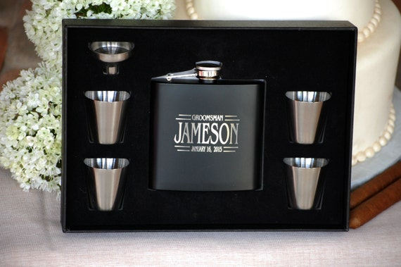 , Personalized Wedding Flask, Groomsmen Gift, Flasks, Custom Engraved ...