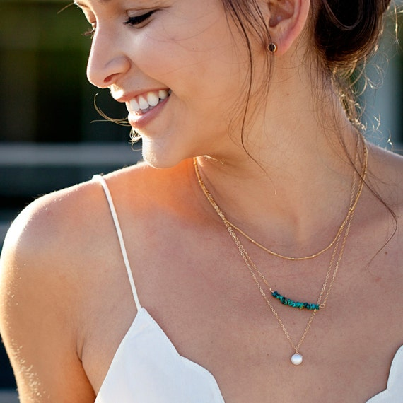 Gold Turquoise Bar and Pearl Layer Necklace