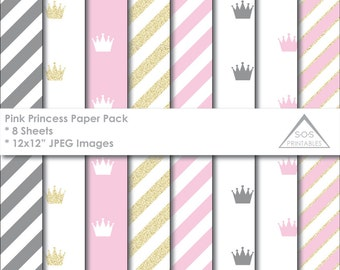 Princess Paper, Crown Paper Pack, Royal Paper, Gold Glitter Crown Paper, Digital Scrapbooking, New Baby, Baby Girl Paper, Little Princess