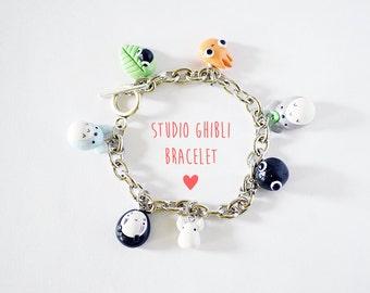 Studio Ghibli Charm Bracelet, Cute Charm Bracelet, Totoro Bracelet Charm, Howls Moving Castle, Spirited Away, Kawaii Bracelet Charm