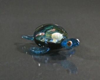 Space Inspired Sea Turtle - Handmade Borosilicate Art Glass Sculpture