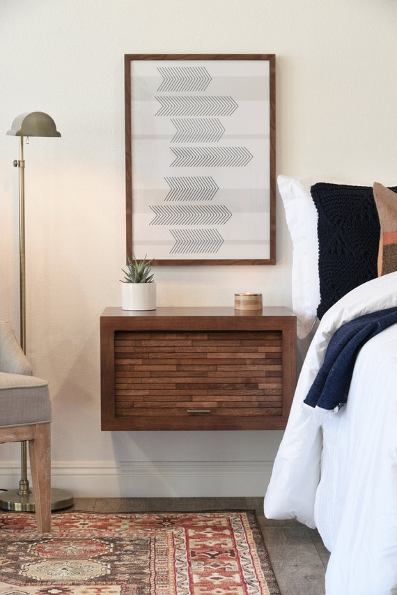 floating wall mounted nightstand eco geo mocha by woodwavesinc. Black Bedroom Furniture Sets. Home Design Ideas