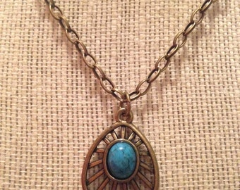 "22"" Bronze&Teal Pendant Necklace"