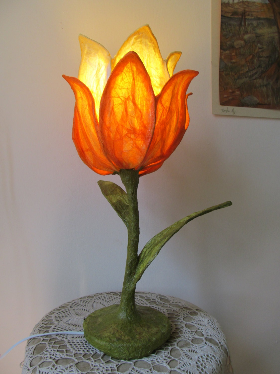 Paper flower lamp designed paper table lamp paper mache desk for Papier mache lanterns