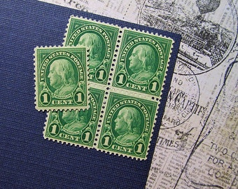 Ten 1c Benjamin Franklin .. Vintage Unused US Postage Stamp .. American History, Colonial America
