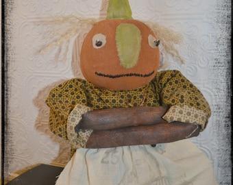 Primitive Folk Art Halloween Pumpkin Kid Cloth Doll (girl)