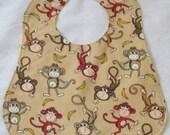 Toddler Bib | Gender Neutral Bib | Monkeys and Bananas | Ages 1-4 | Reversible Bib | Handmade Bib