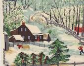 "Grandma Moses Fabric ""Early Springtime on the Farm"""
