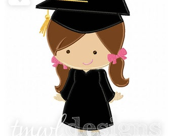 Graduation Girl Appliqué Digital Design File - 5x7