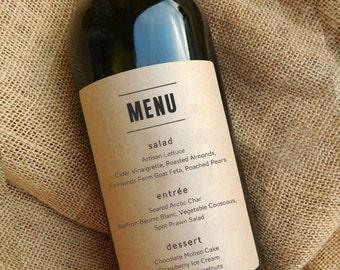 Wedding Menu Wine Labels \\ Wedding Centerpiece