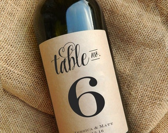 Wine Table Number Labels \\ Wine Labels \\ Wedding Centerpiece