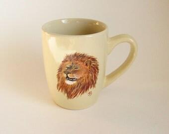 Lion Coffee Mug  - Hand-painted Cream Color Wildlife Cup