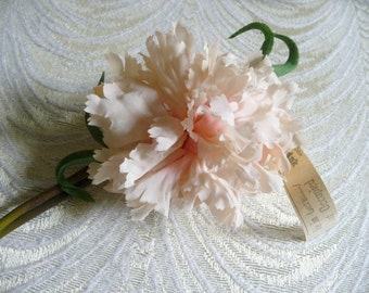 Gorgeous Vintage Silk Carnation Pale Pink Blush NOS Millinery Flower for Hats Hair Head Bands Weddings Floppy Shabby Look 4FV0160P