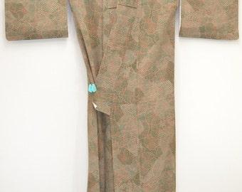J95 VINTAGE KIMONO - Lovely Dark Khaki Tree Peony 9999-260607