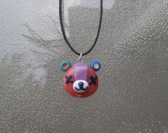 Animal Crossing Stitches Necklace Kawaii Bear Pendant Gamer Jewelry
