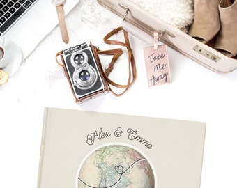 World Map Wedding Guest Book, Globe Guestbook Cover,  Travel Wedding Guest Sign in Book, Travel theme Guest Book