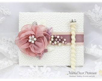 Wedding Lace Guest Book Pen Set Jeweled Birthday Book Bridal Flower Brooch Guest Books Custom Signature Book in Ivory, Blush Rose Pink Mauve