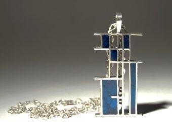 Bernard Chaudron Necklace - Silver Enamel Pendant - Frank Lloyd Wright Geometric Cubist - Brutalist Modernist - Quebec Canada - 1960-70