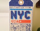New NYC Travel Tag Cross Stitch Christmas Ornament