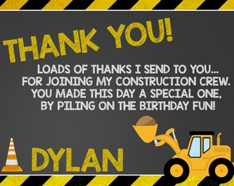 Construction Thank You Card, Construction Party, Construction Birthday, Construction Invitation, Boys Construction, Dump Truck, Truck