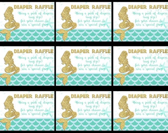 Mermaid Diaper Raffle Inserts, Mermaid Gift Tags, Thank You Tags, Under the Sea Tags, Mermaid Diaper Raffle Tags, Diaper Raffle Inserts