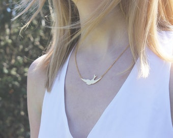 Gold Bird Necklace // Swallow Necklace // 16K Gold Necklace // Flying Necklace // Soaring Necklace