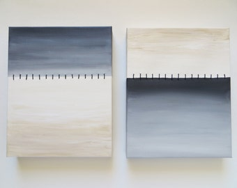 Original art, Stiched, acrylic painting, minimalist painting, set of 2, neutral art, canvas painting, mixed media, grey and white