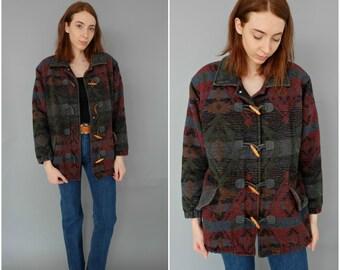 SALE 1990s southwest ptinted toggle coat