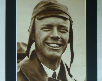 1930s Antique Charles Lindbergh Print, Old Spirit of St Louis Gift, American Pilot Decor, Available Framed, Aviation Art, Aviator Picture