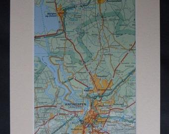 1980s Vintage Map of Antwerp, Belgian Decor, Available Framed, Belgium Art Bergen op Zoom Gift Dutch Wall Art Netherlands Print Wouw Picture