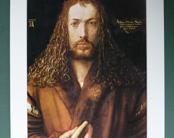 Self Portraint Print of Albrecht Durer, German Renaissance Picture, Available Framed, Germany Art History Decor Man with Beard and Long Hair