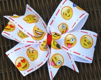 Emotions 5 Inch Hair Bow - Emotions Faces 5 Inch Pinwheel Bow - Emotions Party Favor -Emotions Party/Party Favor -Smiling Faces Bow-BowBravo