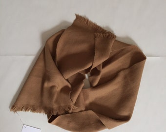 cinnamon brown long knittted scarf | fringed scarf