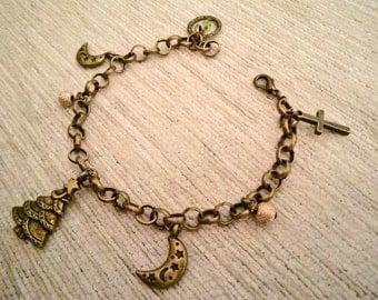 Vintagestyle Charm Bracelet Christmas Slave Bracelet Armlet X-mas Bronze Glass Beads