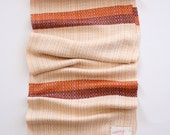 Ivory, Orange, and Maroon Handwoven Bamboo Scarf